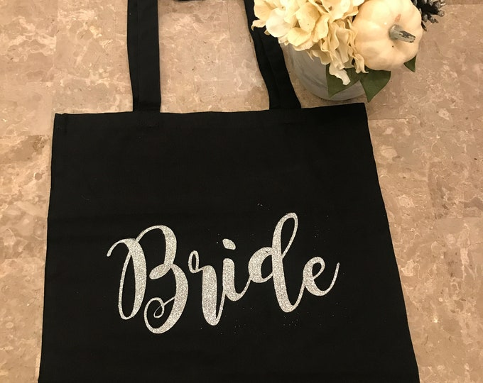 Bride Tote | Bride | Tote Bag | Glitter | Wedding Shower Gift | Bachelorette Party | Bridesmaid Tote