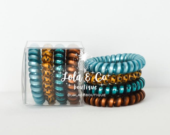 Teal & Leopard Hair Ties | Set of 4 | Gift Set | Tele Cord | Telephone Cord | Hair | Aqua | Cheetah | Teal | Bronze
