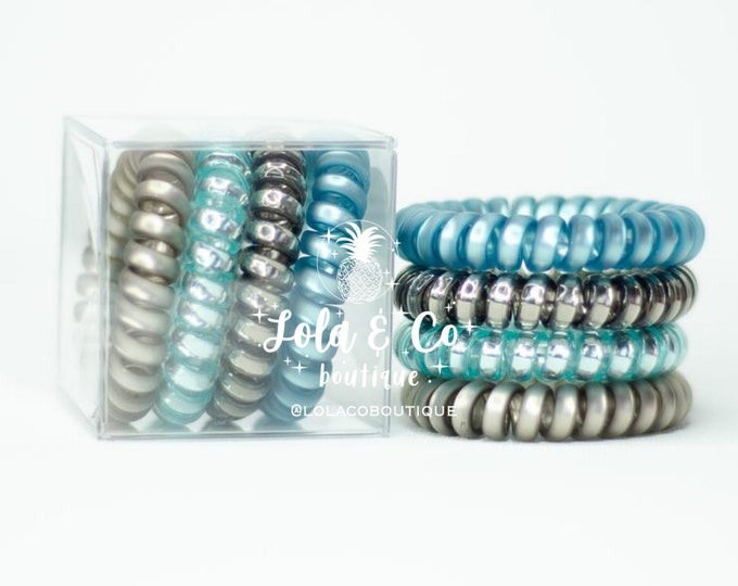 Breakfast at Tiffany's Hair Tie | Set of 4 | Gift Set | Tele Cord | Telephone Cord | Hair | Blue | Teal | Bronze | Titanium