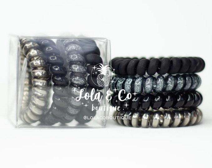 Black Tie Hair Tie | Set of 4 | Gift Set | Tele Cord | Telephone Cord | Hair | Black | Silver | Titanium