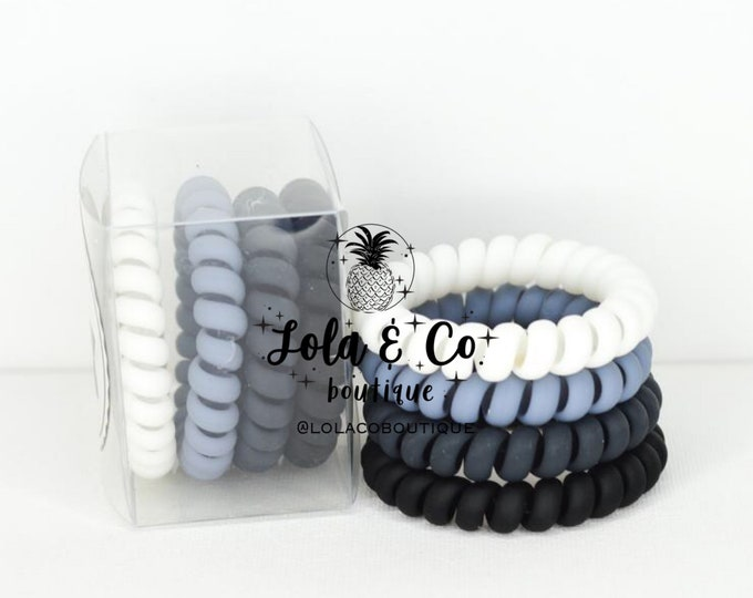 Matte Tuxedo Hair Ties | Set of 4 | Gift Set | Tele Cord | Telephone Cord | Hair | White | Blue | Dark Grey | Black | Matte