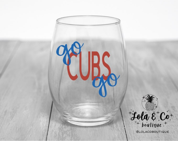 Go Cubs Go | Chicago Cubs | Wine Glasses