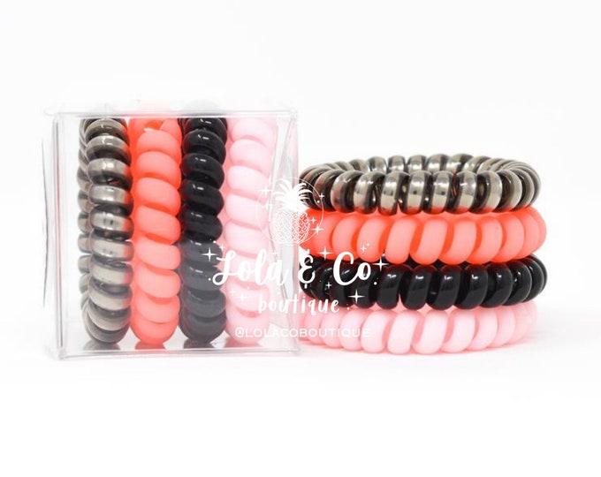 Coral Crush Hair Tie | Set of 4 | Gift Set | Tele Cord | Telephone Cord | Coral | Titanium | Black | Pink