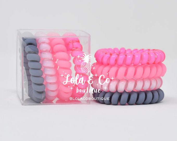 Bubble Gum Hair Tie | Set of 4 | Gift Set | Tele Cord | Telephone Cord | Hair | Pink | Grey