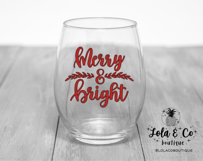 Merry & Bright Wine Glass | Christmas | Holidays | Red | Green | Holiday | Elves | Christmas Tree | Hostess Gift | Holiday Party