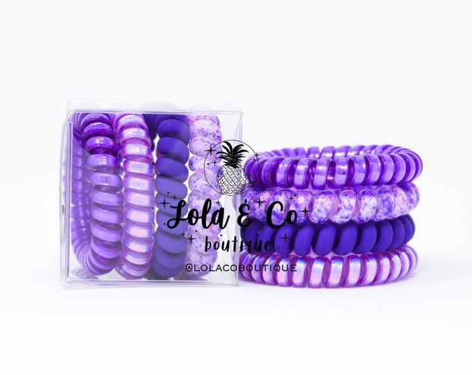 Purple Pizzazz Hair Ties | Set of 4 | Gift Set | Tele Cord | Telephone Cord | Hair | Purple | Holographic  | Matte