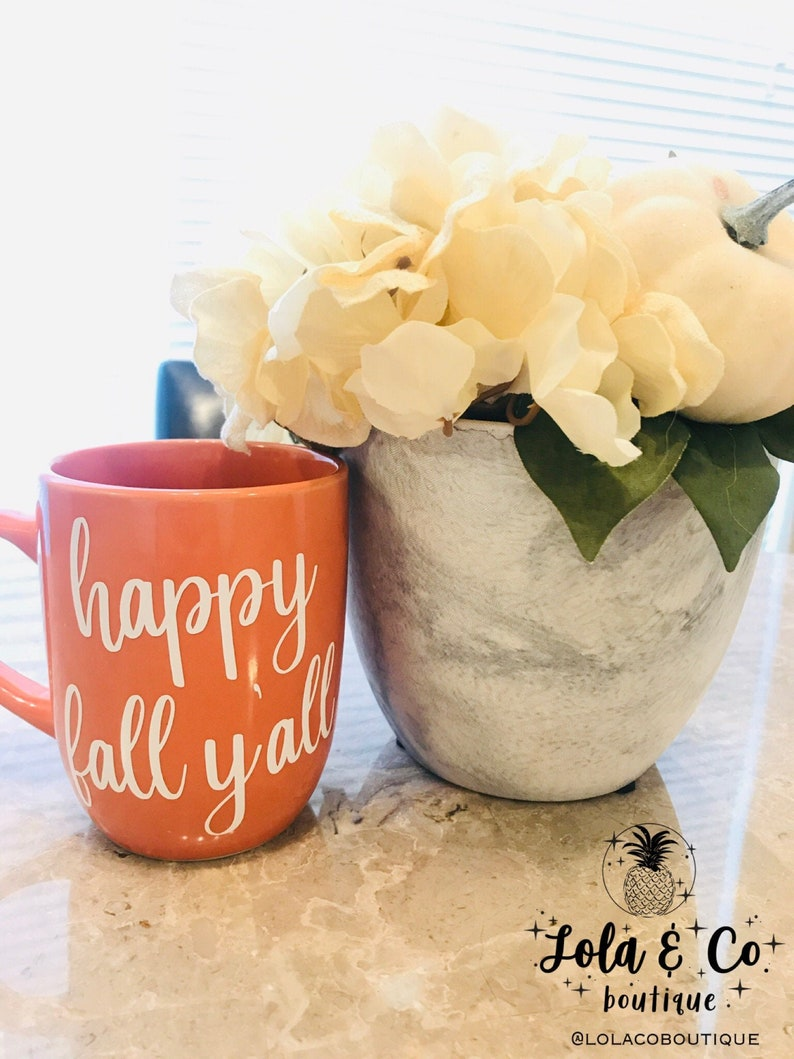 Happy Fall Y'all Wine Glass  Coffee Mug  Fall  image 0