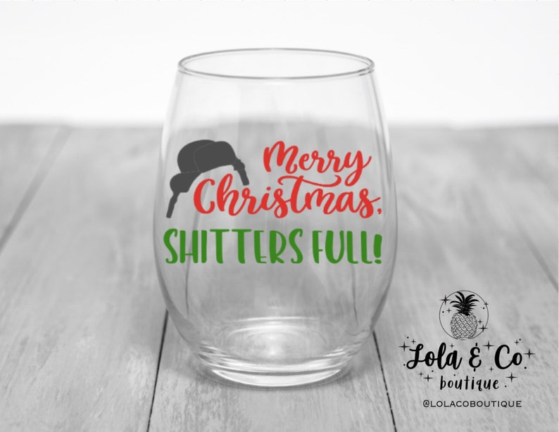 Merry Christmas Shtters Full  Wine Glass  Winter  image 0