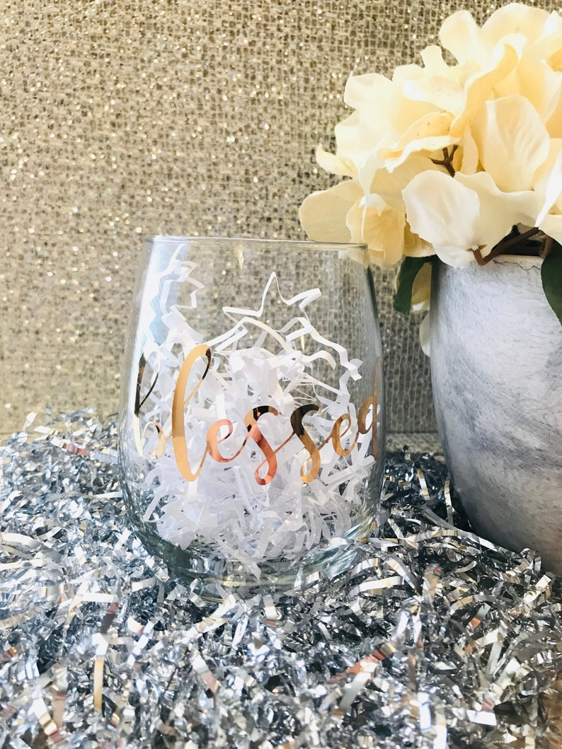 Blessed Wine Glass  Fall  Thanksgiving  Hostess Gift image 0