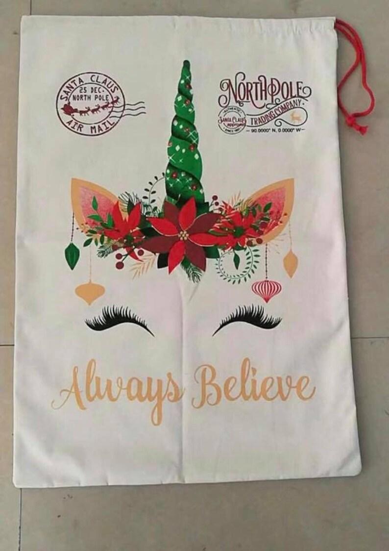 Unicorn Santa Bag  Personalized  Glitter Name  Santa  image 0