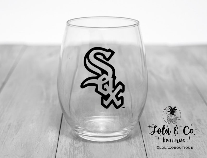 White Sox Wine Glass  White Sox  Chicago  Sox  Black  image 0