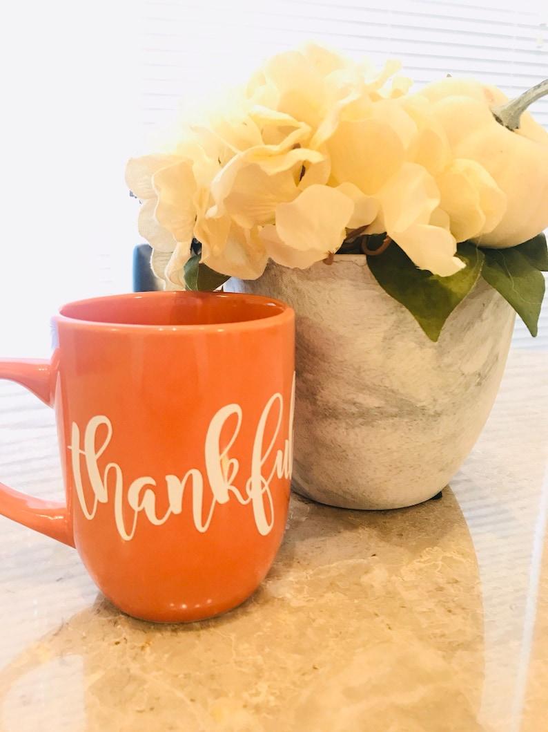 Thankful Mug  Thanksgiving  Fall  Cider  Orange image 0