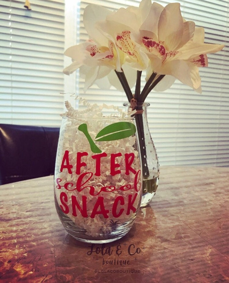 After School Snack Wine Glass  Teacher Gift image 0