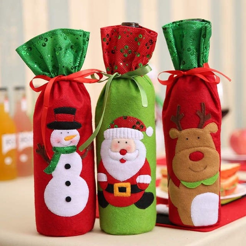Christmas Wine Bags  Wine Tote  Hostess Gift  Table Decor  image 0