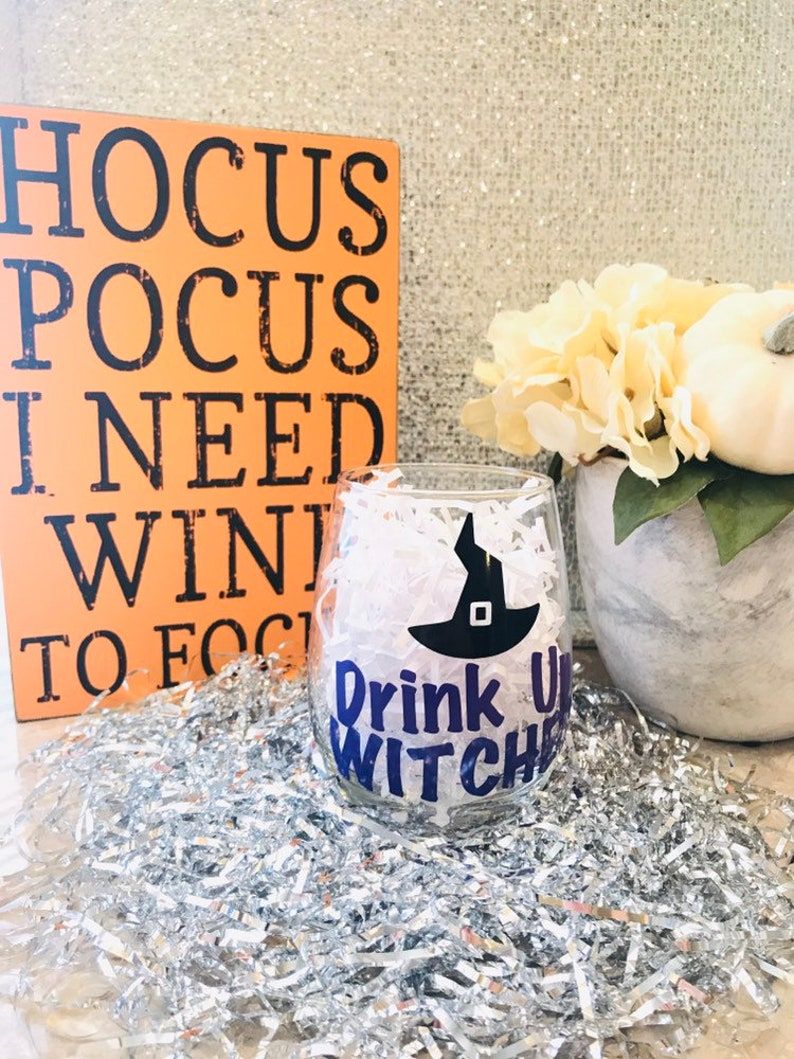 Drink Up Witches  Halloween  Wine Glasses image 0