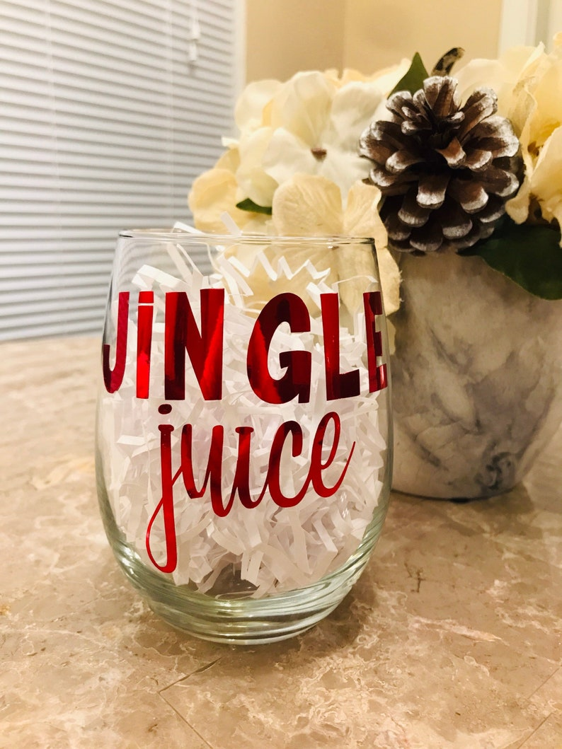 Jingle Juice Wine Glass  Winter  Christmas  Wine  Hostess image 0