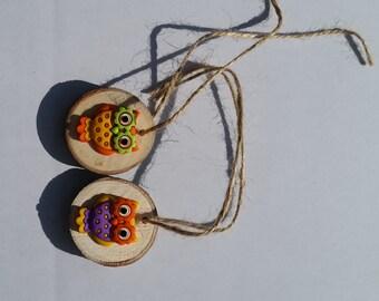 Colorful Owl Gift Tag/Wine Charm/Christmas Ornaments