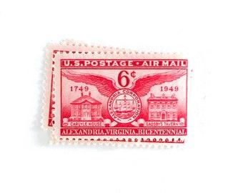 10 X Red 6 Cents Air Mail Alexandria Virginia 1949 Aviation Airplane Airmail