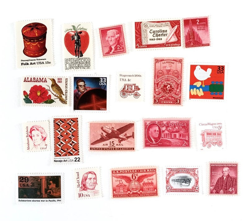 20 x Red Tones UNused Mint Never Hinged Vintage Postage Stamps for postage,  stamp collecting, crafts - 2 cent to 33 cents - mixed values