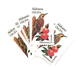 5 x Alabama USA 20c Yellowhammer & Camellia UNused 1982 Vintage postage stamps - Scott 1953 - State Birds - for invites, mail art