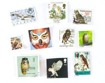 Owl postage stamps - selection of 10, all different, from 8 countries - off paper, used - collage, stamp collecting, crafts, card making