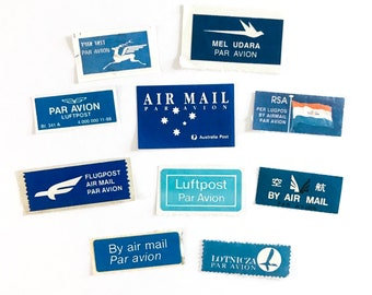 10 x Air Mail Labels - Genuine Vintage Labels and Clippings - Par Avion - Airmail - Mail Art - Crafting - Postal Ephemera
