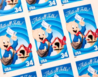 10 x Porky Pig 34 cents UNused Mint US Mail Postage Stamps - Looney Tunes - Snail Mail - for party invites, crafting, postcrossing, mail art