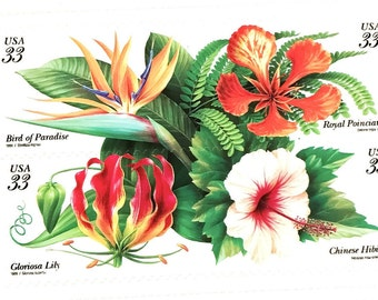 8 x Tropical Flowers 33 cent - 1999 Unused US Postage Stamps - Bird of Paradise - Chinese Hibiscus - Gloriosa Lily - Royal Poinciana