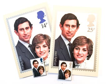 2 x Prince Charles and Princess Diana Royal Wedding PHQ postcards with matching GB mint postage stamps - for postage, snail mail, collecting