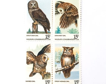 1978 Owls 15 cents  - Wildlife Conservation - Owl - UNused US Vintage Postage Stamps - for invites, art, stamp collecting, postcrossing