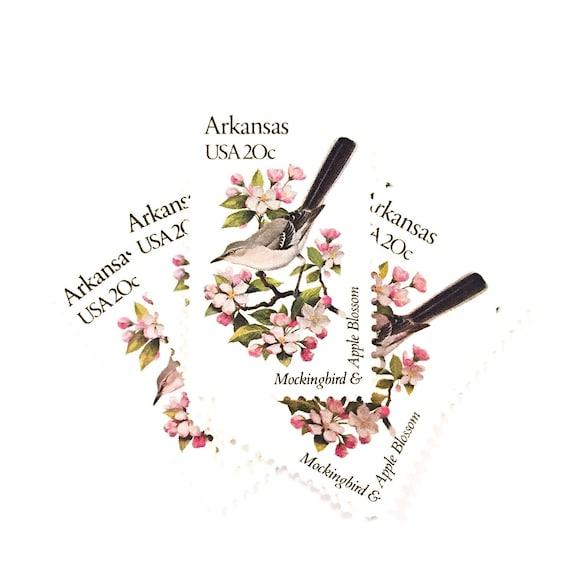 4 X Arkansas 20 Cent Mockingbird Apple Blossom UNused 1982