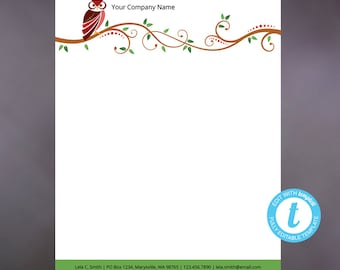 whimsical letterhead letterhead template diy custom etsy