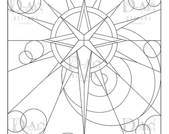 star scape coloring page star spiral circles star pattern digital download instant download cosmic coloring page starburst