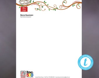 Whimsical letterhead, Letterhead Template, DIY Custom Letterhead, Personalized Letterhead, Bird Nest and Branches, For Sale, DIY Stationary
