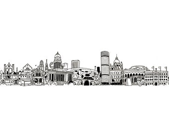 Leeds city skyline illustration - print
