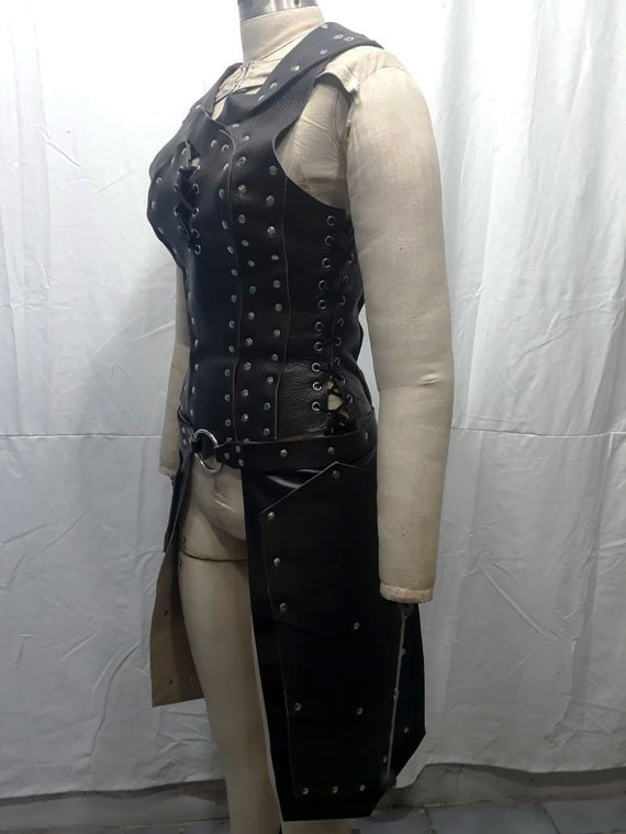 Ready to be shipped Leather Woman medieval tassets set thigh armour protection Bicolline Burning Man Halloween Costume thigh armor