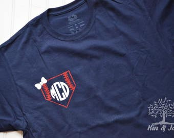 All about that base - baseball mom's tee with monogram!
