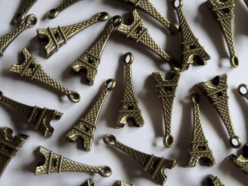 10 Antique Gold Paris Eiffel Tower Metal Jewellery Charms 22x8mm
