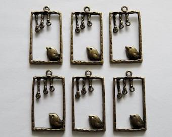 6 Antique Gold Bronze Metal Rectangular Bird on Perch Jewellery Charms Pendants 35x19mm