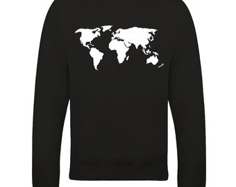 Global Map of the Earth We Live On- Graphic Women's Sweatshirt From FatCuckoo SW1699