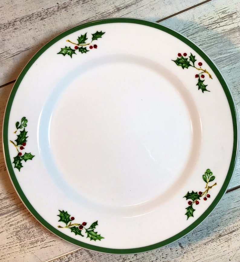 Set of 4 Green Trim with Holly Christmas Table, SALAD PLATES in the Holiday Celebrations Pattern by Christopher Radko