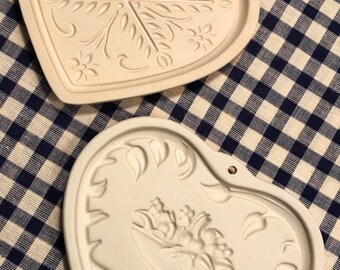 RETIRED Vintage Anniversary Heart and Come to the Table Heart Cookie Molds by Pampered Chef, Set of TWO (2) Cookie Molds, baking, cookie art