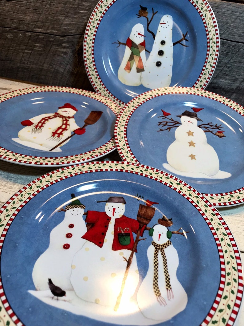 Sakura Christmas Party.Sakura Snowman Set Of 4 Four Dessert Salad Plates Christmas Christmas Dinner New Year Party Debbie Mumm Replacements