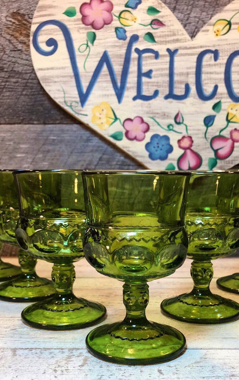 1960/'s Gorgeous Set of 4 GREEN WINE Goblets in the Thumbprint Kings Color Crown Pattern by Colony-Indiana Glass mid century, Retro Four