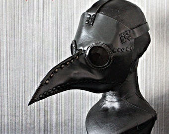 1:1 Custom Genuine Leather Halloween Costume Cosplay Steam Punk Bird Prop Dr. Dr Plague Doctor Mask Black GL03