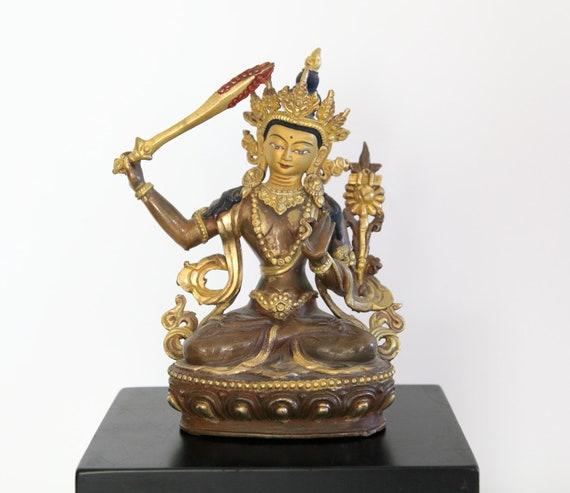Gilded Manjushri Bodhisattva - Nepal - Late 20th century