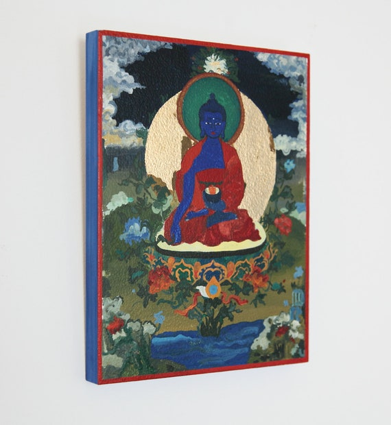 Medicine Buddha wood painting