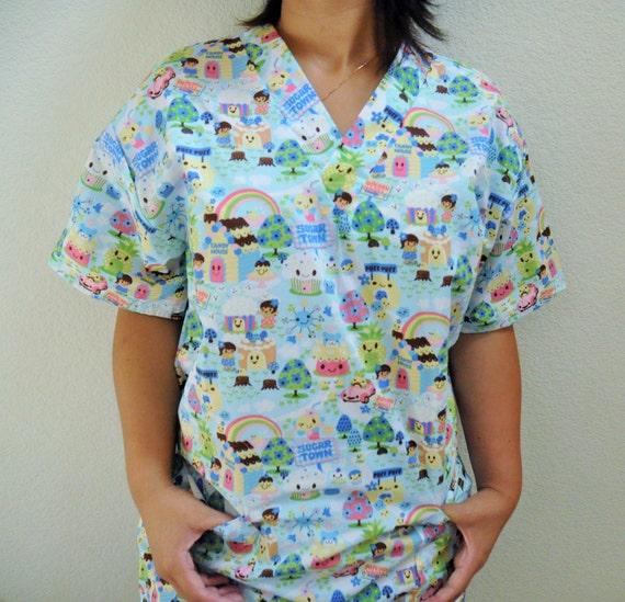 Medium Baby Blue Cartoon Sugar Rush Candyland Medical Scrubs Etsy