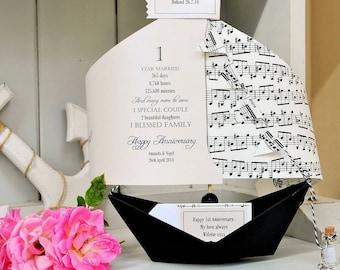 Anniversary Card, Music, Musical, 1st Anniversary, Paper Anniversary, Paper boat, Personalised Card, Anniversary Card, 1st Anniversary Card