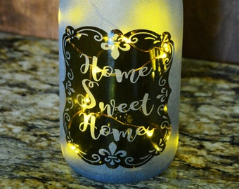 Lighted Wine Bottle Lamp with Your Saying